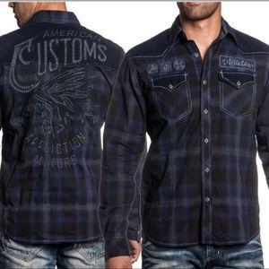 Affliction Premium Black Indian Button Down Shirt